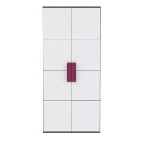 TEMPO KONDELA Lobete S82 2D šatníková skriňa sivá / biela / fialová
