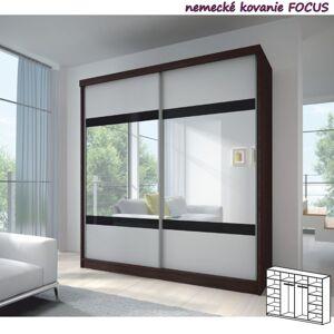 TEMPO KONDELA Multi 2 2D šatníková skriňa 233x218 cm dub cambridge / biela / čierna