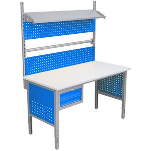 NABBI 1550 03 baliarenský stôl s nadstavbou a úchytom na papier svetlosivá / modrá