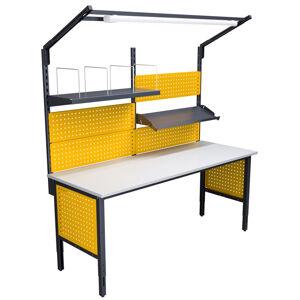 NABBI 2000 03 montážny stôl s nadstavbou a osvetlením grafit / žltá