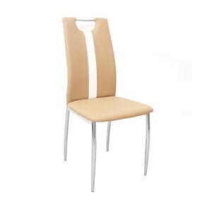 TEMPO KONDELA Signa jedálenská stolička béžová / biela / chrómová