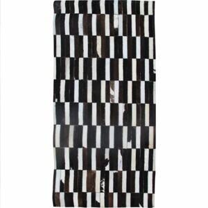 TEMPO KONDELA Typ 6 kožený koberec 69x140 cm vzor patchwork