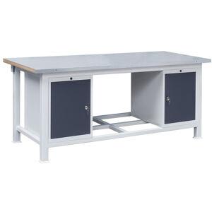 NABBI 3T/P1P1 pracovný stôl s plechovou policou svetlosivá / grafit
