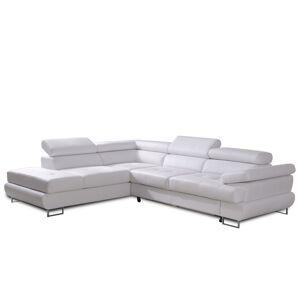 TEMPO KONDELA Buton P L rohová sedačka biela