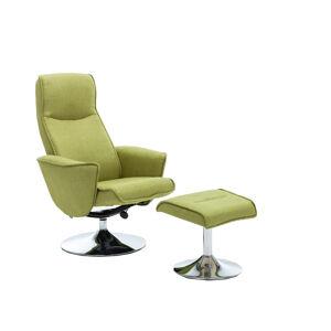 TEMPO KONDELA Lonato relaxačné kreslo s podnožkou zelená Greenery / oceľ