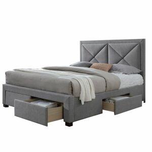 TEMPO KONDELA Xadra 180 čalúnená manželská posteľ s roštom sivá melírovaná / wenge