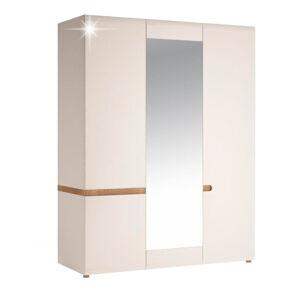 TEMPO KONDELA Lynatet 22 3D šatníková skriňa so zrkadlom biela / dub sonoma truflový
