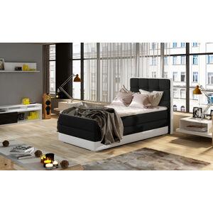 NABBI Alessandra 90 P čalúnená jednolôžková posteľ čierna / biela