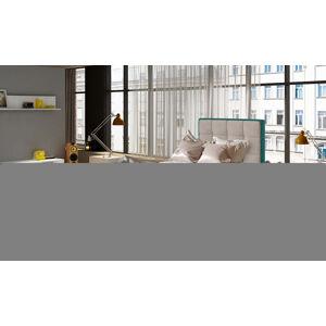 NABBI Alessandra 90 P čalúnená jednolôžková posteľ svetlosivá / svetlomodrá