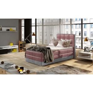 NABBI Alessandra 90 L čalúnená jednolôžková posteľ bordová / svetlosivá