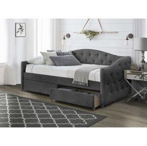 HALMAR Aloha 90 čalúnená jednolôžková posteľ (váľanda) s roštom sivá (Velvet)