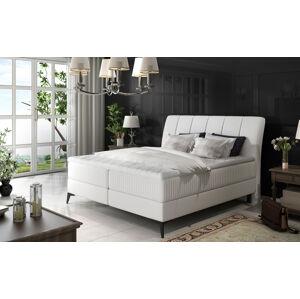 NABBI Altama 140 čalúnená manželská posteľ s úložným priestorom biela
