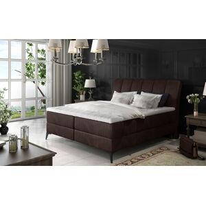 NABBI Altama 160 čalúnená manželská posteľ s úložným priestorom tmavohnedá