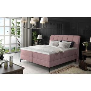 NABBI Altama 180 čalúnená manželská posteľ s úložným priestorom ružová