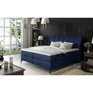 NABBI Altama 180 čalúnená manželská posteľ s úložným priestorom tmavomodrá