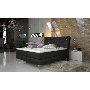 NABBI Amika 160 čalúnená manželská posteľ s úložným priestorom čierna (Sawana 14)