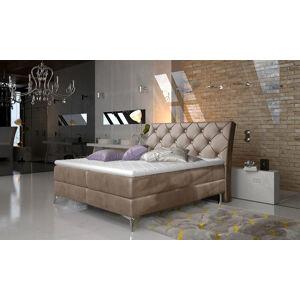 NABBI Amika 160 čalúnená manželská posteľ s úložným priestorom hnedá