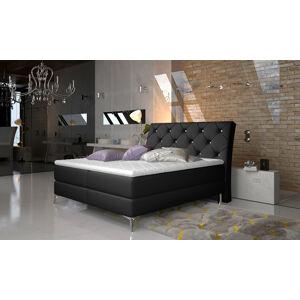 NABBI Amika 180 čalúnená manželská posteľ s úložným priestorom čierna (Soft 11)