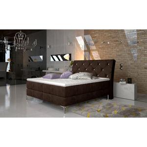NABBI Amika 180 čalúnená manželská posteľ s úložným priestorom tmavohnedá