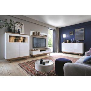 TARANKO Aspen obývacia izba biely vysoký lesk / dub (Grande 01)