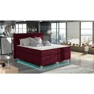NABBI Avellino 160 čalúnená manželská posteľ s úložným priestorom bordová