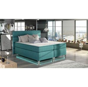NABBI Avellino 180 čalúnená manželská posteľ s úložným priestorom svetlomodrá