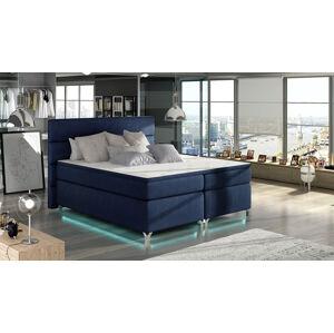 NABBI Avellino 180 čalúnená manželská posteľ s úložným priestorom tmavomodrá