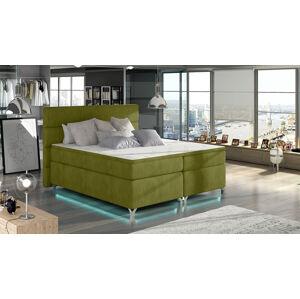 NABBI Avellino 180 čalúnená manželská posteľ s úložným priestorom zelená