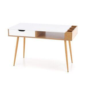 HALMAR B-45 písací stolík dub zlatý / biela