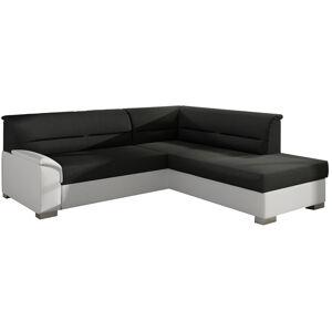 NABBI Balmi P rohová sedačka s rozkladom a úložným priestorom čierna (Sawana 14) / biela (Soft 17)