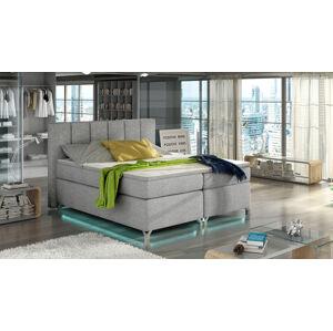 NABBI Barino 140 čalúnená manželská posteľ s úložným priestorom svetlosivá