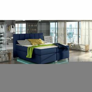 NABBI Barino 180 čalúnená manželská posteľ s úložným priestorom modrá