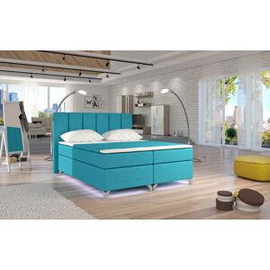 NABBI Barino 180 čalúnená manželská posteľ s úložným priestorom svetlomodrá