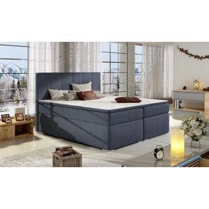 NABBI Barmo 140 čalúnená manželská posteľ s úložným priestorom modrá