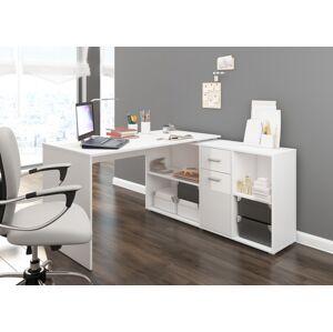 MEBLOCROSS Beat P rohový písací stôl biela / biely lesk