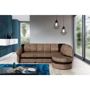 NABBI Belluno P rohová sedačka s rozkladom a úložným priestorom hnedá / tmavohnedá