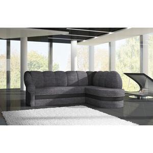 NABBI Belluno P rohová sedačka s rozkladom a úložným priestorom sivá (Sawana 05) / čierna (Soft 11)