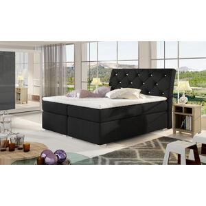 NABBI Beneto 160 čalúnená manželská posteľ s úložným priestorom čierna (Sawana 14)