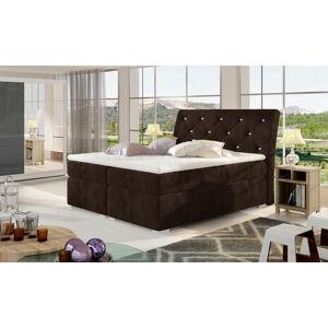 NABBI Beneto 180 čalúnená manželská posteľ s úložným priestorom tmavohnedá