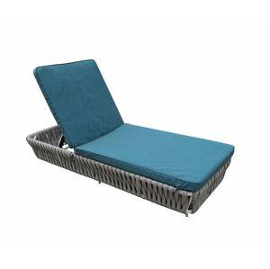 NABBI Corda záhradná posteľ z umelého ratanu svetlosivá / tyrkysová