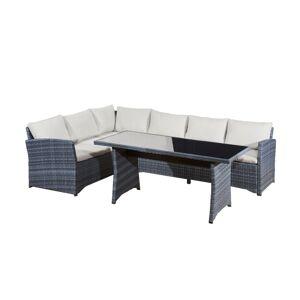 NABBI Vistoso záhradný nábytok z umelého ratanu sivý melanž / ecru