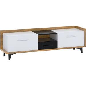 MEBLOCROSS Box Box-09 tv stolík dub burgundský / biela / čierna