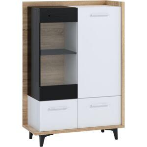 MEBLOCROSS Box Box-13 vitrína sonoma svetlá / biela / čierna