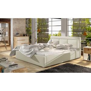 NABBI Branco 160 čalúnená manželská posteľ s roštom béžová