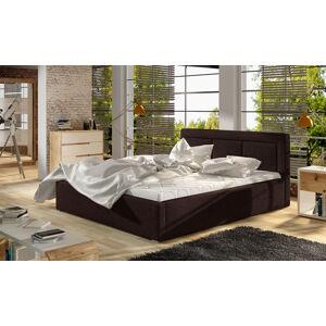 NABBI Branco UP 200 čalúnená manželská posteľ s roštom tmavohnedá (Sawana 26)