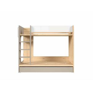 BLACK RED WHITE Namek LOZ1S/90P poschodová posteľ s úložným priestorom buk iconic / biely lesk / sivá