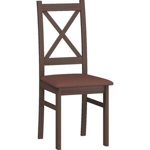 MEBLOCROSS D jedálenská stolička sonoma tmavá / hnedá ekokoža