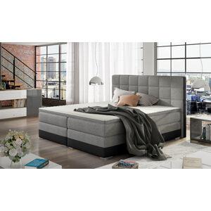 NABBI Dalino 160 čalúnená manželská posteľ s úložným priestorom svetlosivá / čierna