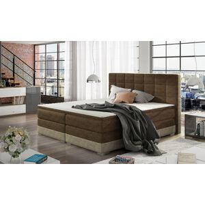 NABBI Dalino 160 čalúnená manželská posteľ s úložným priestorom tmavohnedá (Dora 26) / béžová (Dora 21)