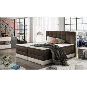 NABBI Dalino 160 čalúnená manželská posteľ s úložným priestorom tmavohnedá (Sawana 26) / béžová (Soft 33)